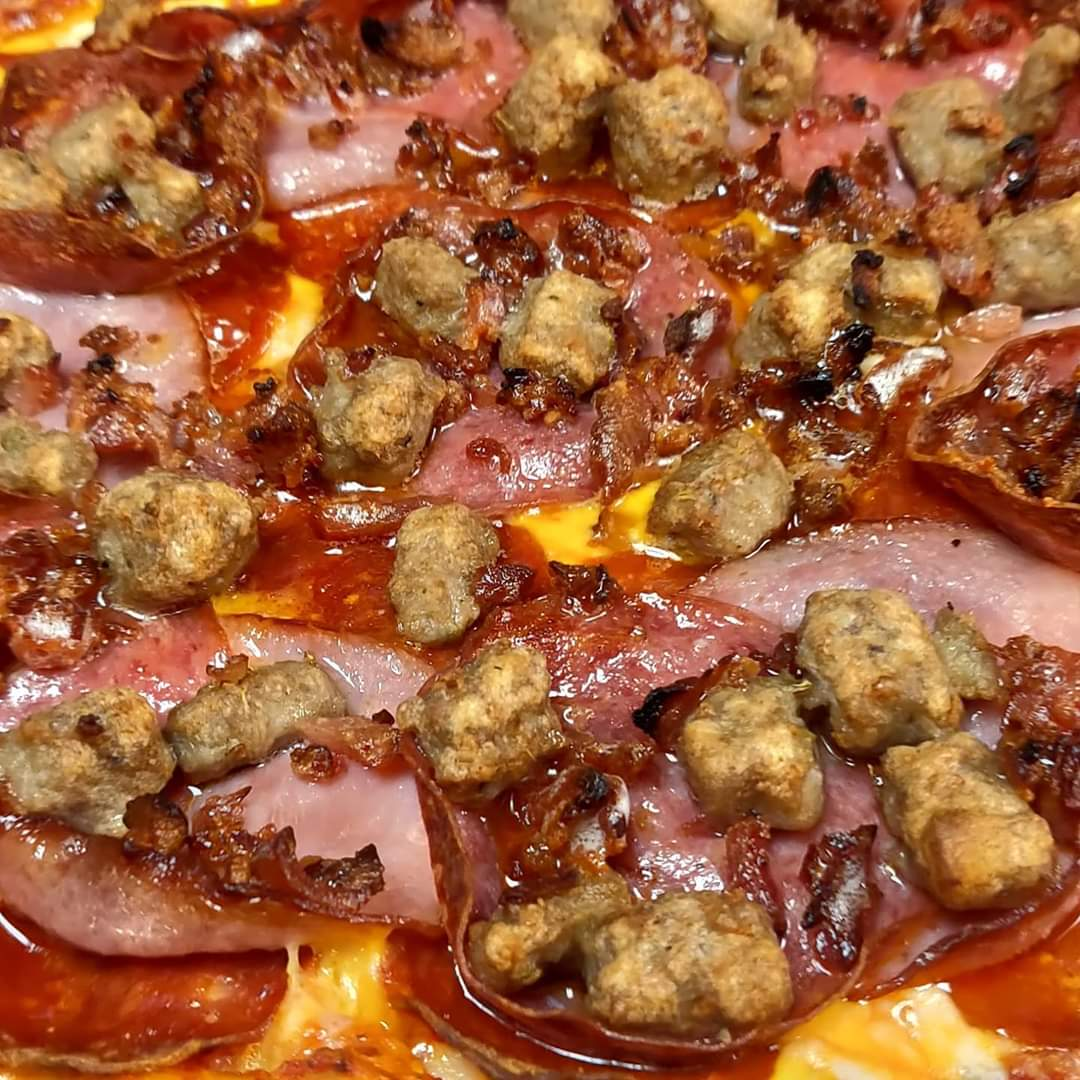 All meat pizza sausage salami pepperoni