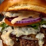burger blue cheese grilled onions pibbs sauce happy valley anderson ca